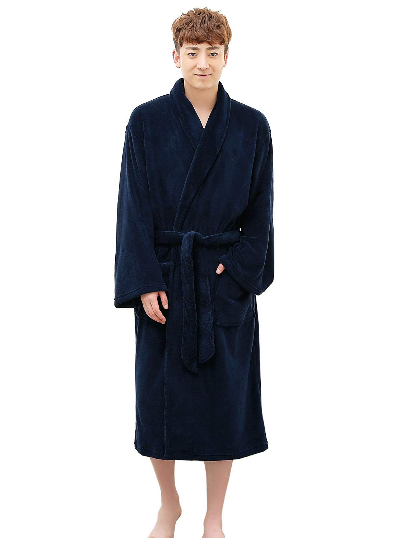 Mens Robe - Plush Shawl Kimono Bathrobe Fleece Pajama Sleepwear