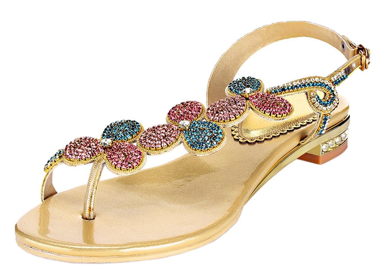 Honeystore Women's Handmade Clover Shaped Rhinestones Sandals