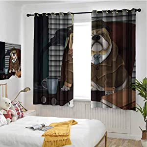 hengshu English Bulldog Grommet Thermal Curtains Blackout Traditional English Detective Dog with a Pipe and Hat Sherlock Holmes Image Thermal Insulated Soundproof Curtain W52 x L36 Inch Multicolor