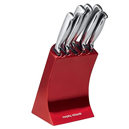 Compra Morphy Richards - Tacoma con 5 Cuchillos, Color Rojo ...