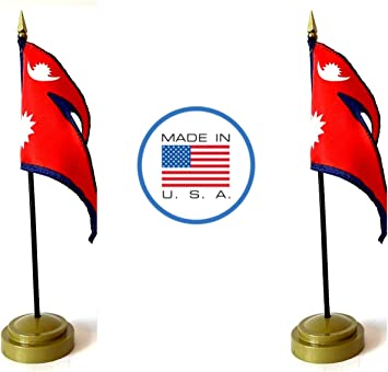 Includes a 2-Hole Flag Stand and 2 Deluxe Small 4x6 Mini Stick Flags Spain Made in USA 1 American and 1 International Miniature Rayon 4x6 Office Desk /& Little Hand Waving Table Flags
