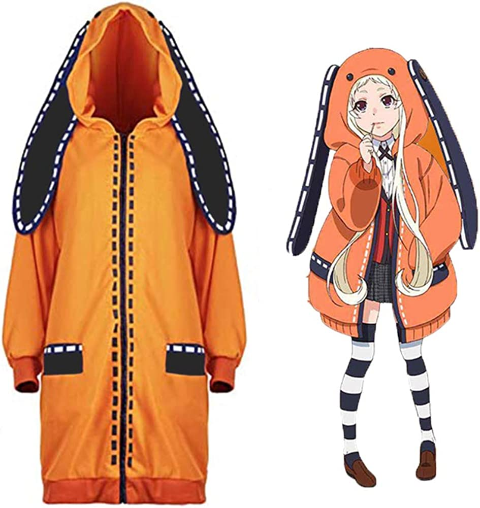 Kakegurui Jabami Yumeko Costumes Yomoduki Runa Orange Rabbit Long Coat  Cosplay Ladies Girl Cute Hoodie Jacket,Fashion Socks
