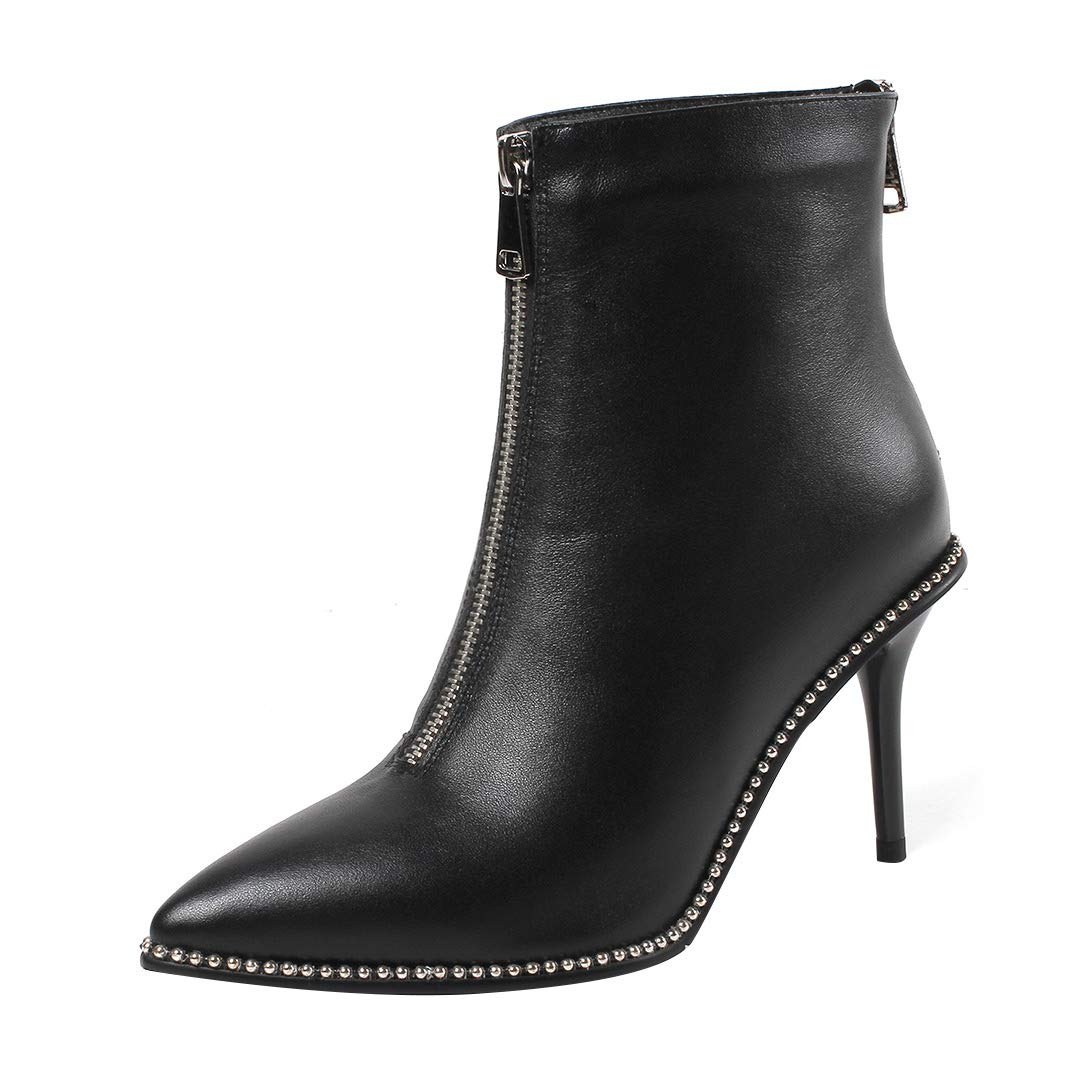 Black MAYPIE Womens Toasses Leather Zipper Ankle Boots