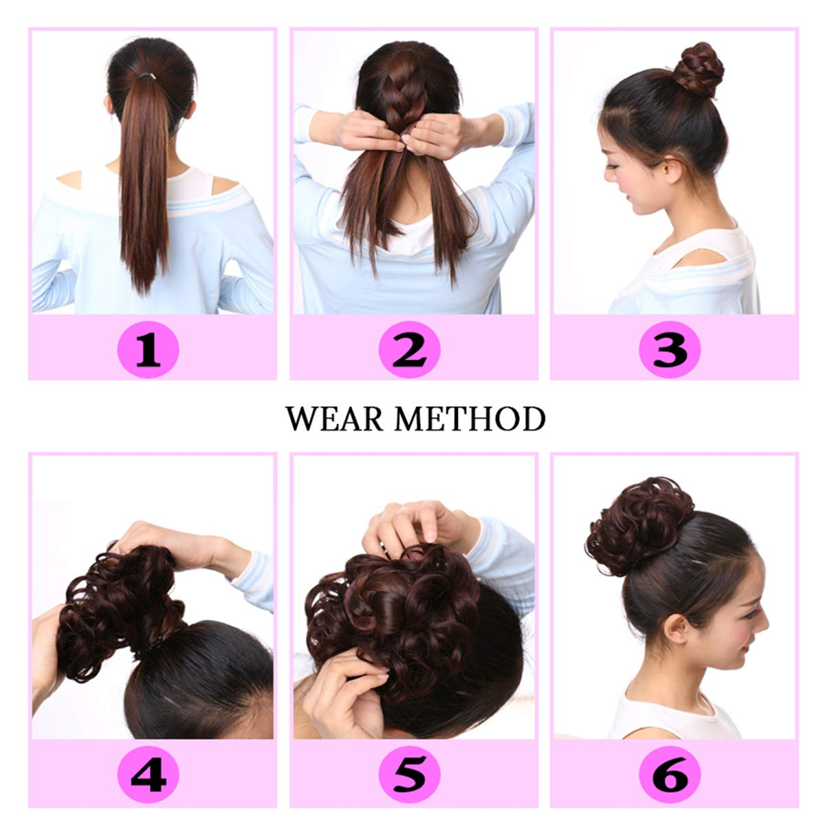 Leeons Wavy Donut Updo Ribbon Ponytail Hair Extensions Curly Messy Bun Dish Scrunchy Scrunchie Hairpiece Wave Bun Scrunchie Synthetic Hair Bun (#2) by LEEONS (Image #8)