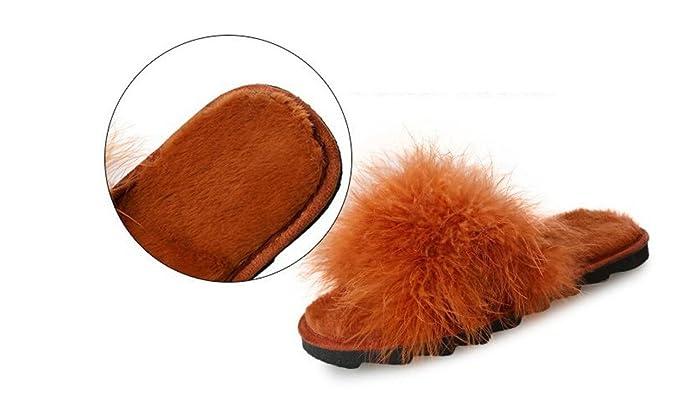 GDAN Zapatillas Femeninas Planas de Gamuza Salvaje PU Pelo Peluche Color  Sólido Antideslizante Zapatos resbaladizos de Invierno (Color   Caramel 6429532999e6