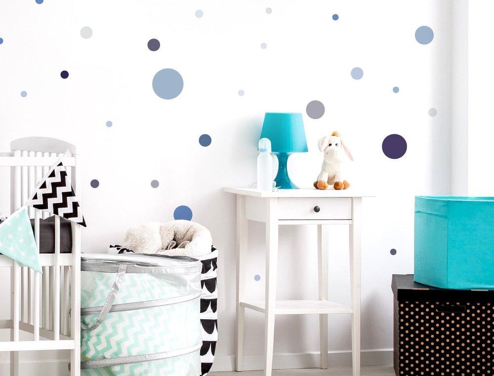 dekodino Wandtattoo Kinderzimmer Wandsticker Set Kreise in Pastellblau und Pastellgrau S