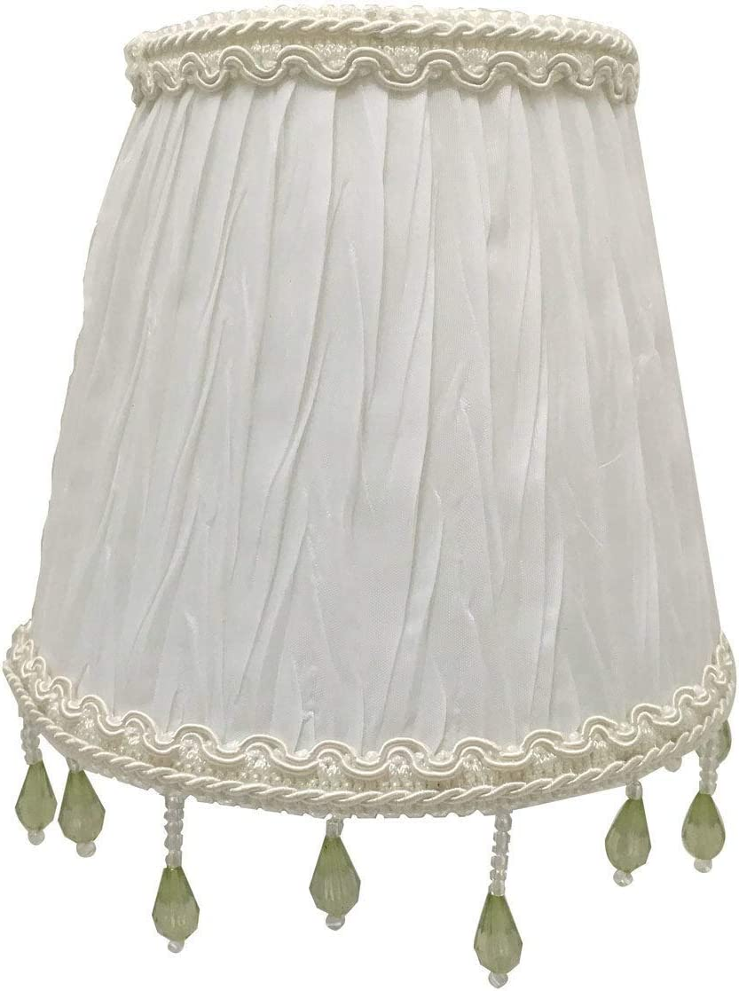 Royal Designs Chandelier Lamp Shade – 3 x 5 x 4.5 – Ruche Pleated Empire – White – Clip-On Single