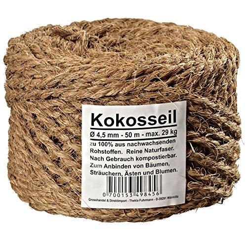 Grosshandel & Direktimport Thekla Fuhrmann Kokosseil Kokosgarn Baumbinder Gartenschnur Gartenband aus Kokosfaser 100% Naturfaser