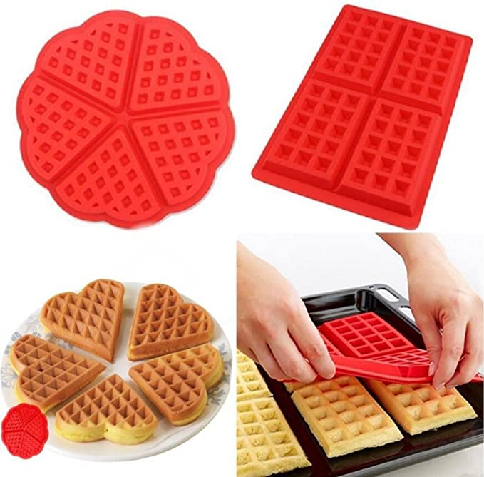 4 Square Waffle Mould Silicone Cake Mold Kitchen Cake Tool Home Mould GN