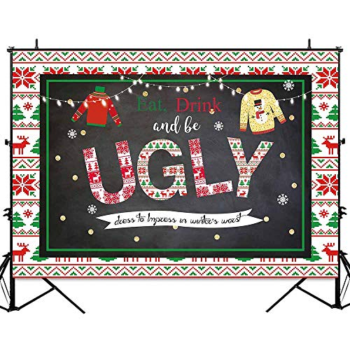 Allenjoy 7x5ft Christmas Ugly Sweater Party Backdrop Tacky Chalkboard Winter Holiday Decorations Background for Photography Gold Glitter Blackboard Family Xmas Banner Photo Studio Booth Props -
