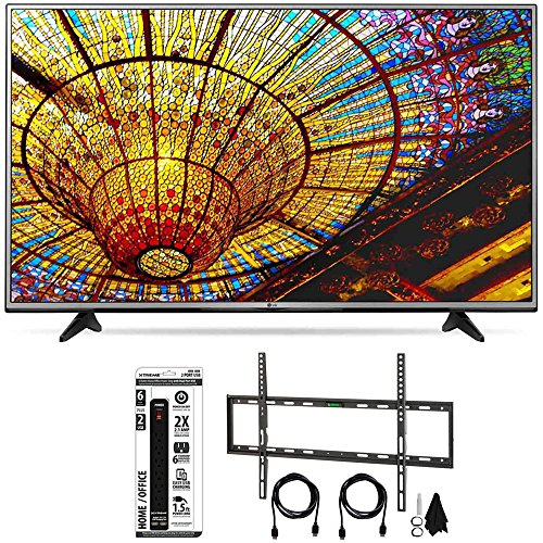 LG 65UH6030 - 65-Inch 4K UHD Smart LED TV w/ webOS 3.0 Flat Wall Mount Bundle includes TV, Flat Wall Mount Ultimate and 6 Outlet Power Strip with Dual USB Ports