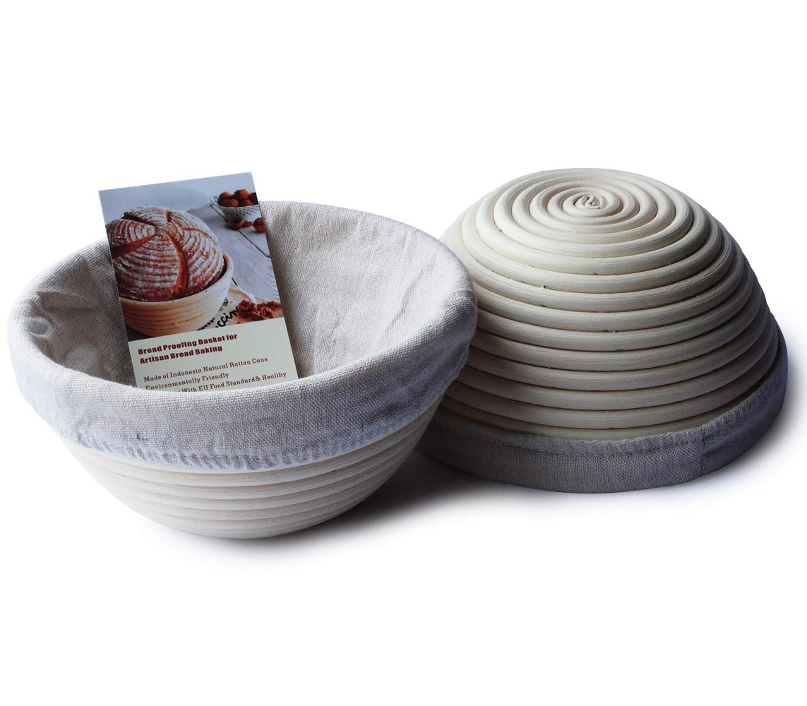 6 Inch Round Banneton Bread Proofing Basket Sourdough Rising Rattan Bowl for Artisan Bread Home Baking, 2 Pack