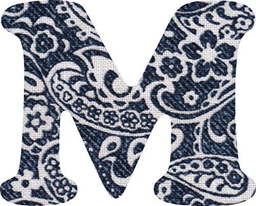 ペイズリー柄 生地 アルファベット M アップリケ ネイビー アイロン接着可能 大文字 3cmの商品画像