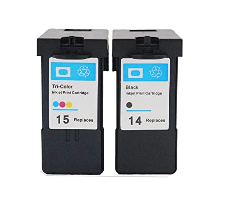 ESTON 2 Pack (1 Black/ 1 Color)  Inkjet Cartridge Replacement for Lexmark 14 15 Fit for Lexmark X2600 X2630 X2650 X2670 Z2300 Z2320 Printers