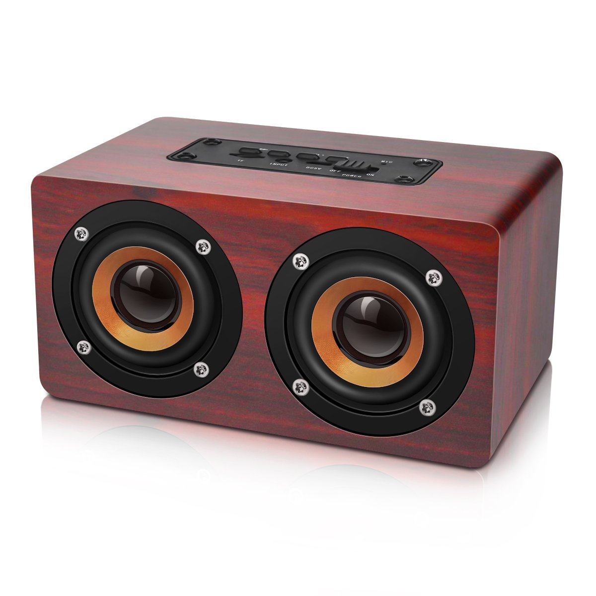 Portable Stereo Speaker, EIVOTOR 10W Wireless Home Speaker with Super Bass - Bamboo Wood HiFi Sound Box Subwoofers with Enhanced Bass Resonator Support TF Card Built-in Mic and Battery kcovss_ca EIVOTORjSKDEBjgZ