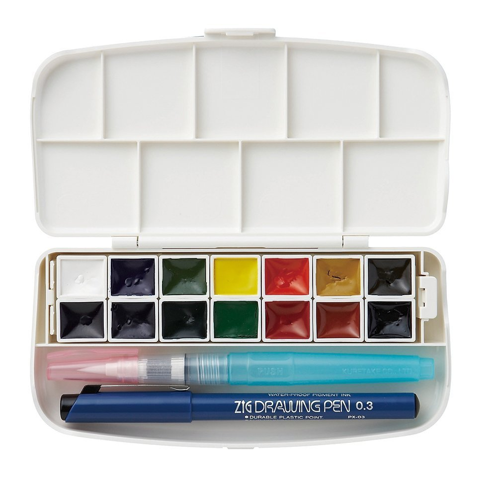 Kuretake Zig Bundle Set, Gansai Tambi Fils Watercolor 14 Colors (KG301-1), Starry 6 Colours (MC20SC/6V) Japan Import