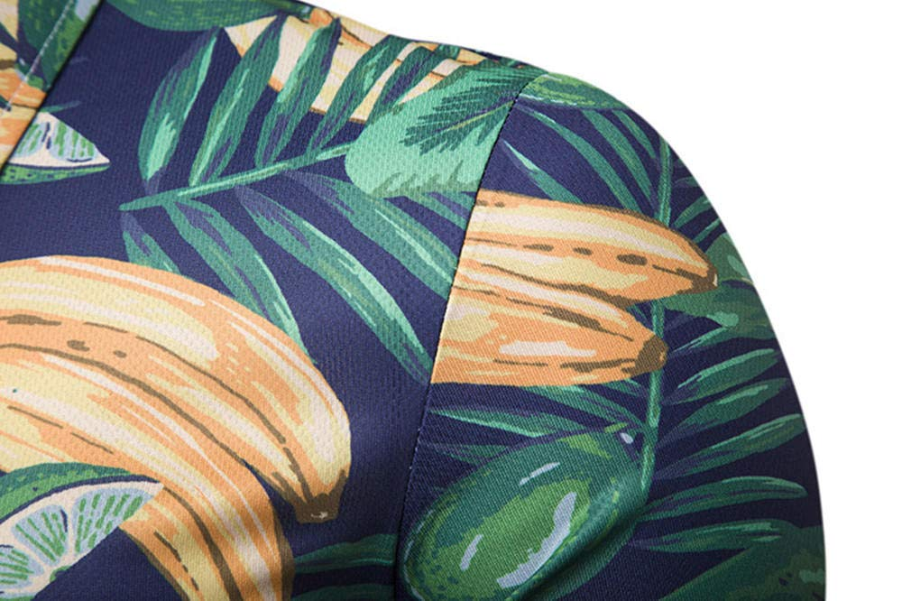 WHLTX Casual Printed Short-Sleeved Polo Shirt Summer Mens Banana T-Shirt