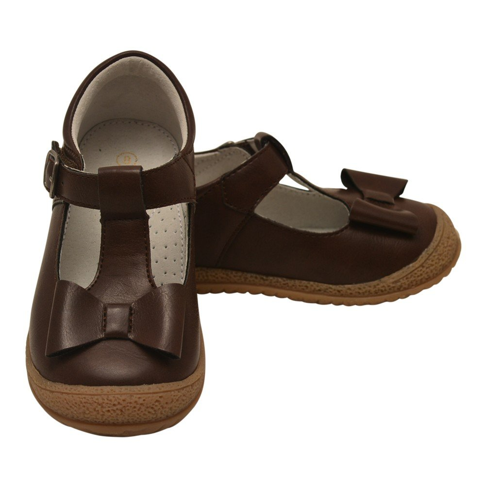 L'Amour Little Girls Brown Bow Accent T-Strap Autumn Shoes 10 Toddler