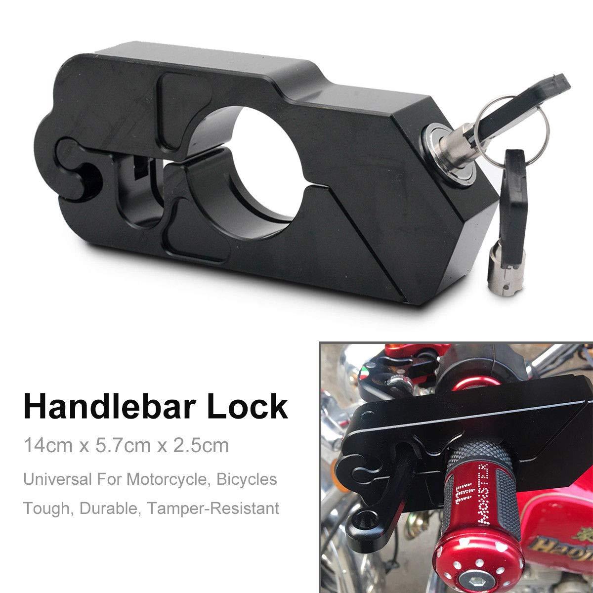 Black MASO Motorbike Handlebar Lock Aluminum Alloy Anti-Theft Brake Level Lock for Motorbike Motorcycle Bike Scooter Moped ATV
