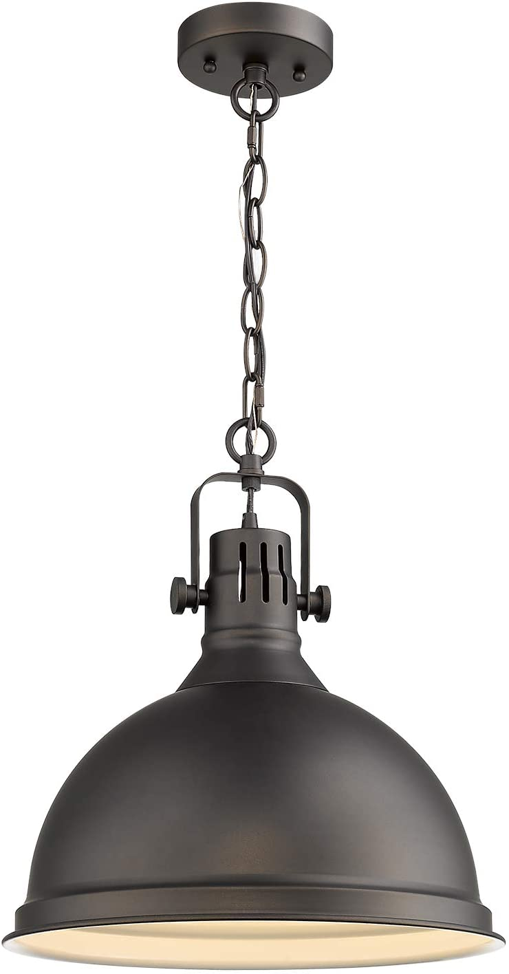 Emliviar 14 inch Farmhouse Ceiling Pendant Light, Vintage Metal Hanging Light with Dome Shade, Oil Rubbed Bronze Finish, 4054L ORB