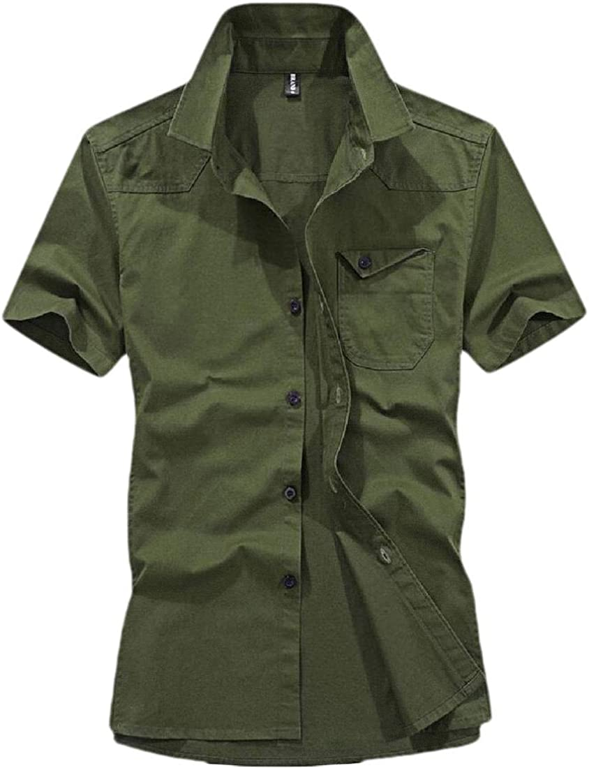 HANA+DORA Mens Short Sleeve Military Button Down Tops Blouses Cargo Shirt