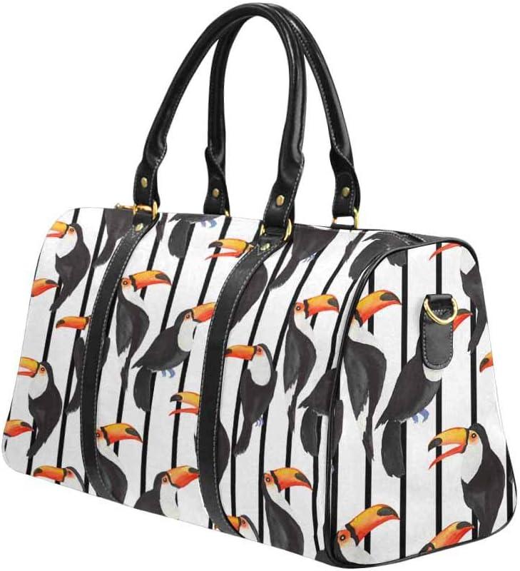 Flight Bag Gym Bag Toucan and Strips InterestPrint Large Duffel Bag