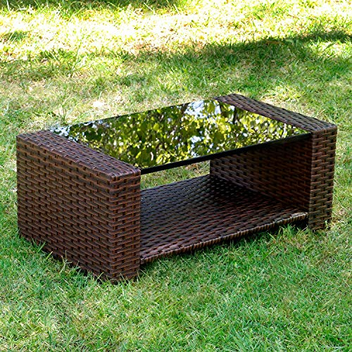 - Living Essentials Primrose Wicker Coffee Table, Outdoor Rectangle Table Furniture with Tempered Glass Top for Patio Conversation Sets | Backyard, Poolside, Garden