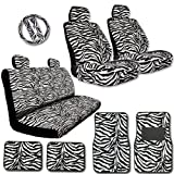 zebra car accessories interior - New YupBizauto Brand 15 Pieces Yupbizauto Brand Premium Grade Zebra Print Low Back Front Car Seat, Rear Bench Cover with Head Rest Cover and 4 Pieces Floor Mats Set