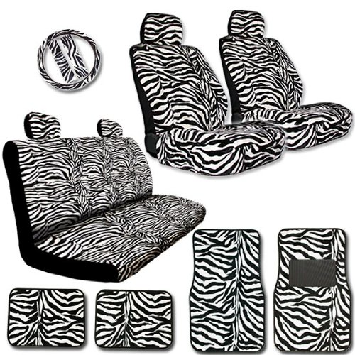 Yupbizauto New Brand 15 Pieces Brand Premium Grade Zebra Print Low Back Front Car Seat, Rear Bench Cover with Head Rest Cover and 4 Pieces Floor Mats Set