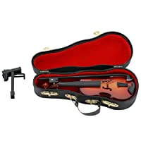 Wooden Miniature Violin Mini Dollhouse Musical Instrument Model Decor Model Decor with Bow, Stand Support, and Black Case for Kids