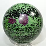 Large 4.4'' 6.2LB Rich Green Ruby Zoisite Sphere Polished Natural Gemstone Crystal Mineral Ball from China + Wood Stand