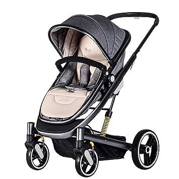 WSJWINE Cochecito De Bebé 2 En 1 Cochecito Infantil Plegable Implementación Bidireccional con Cuna Reversible Pasamanos