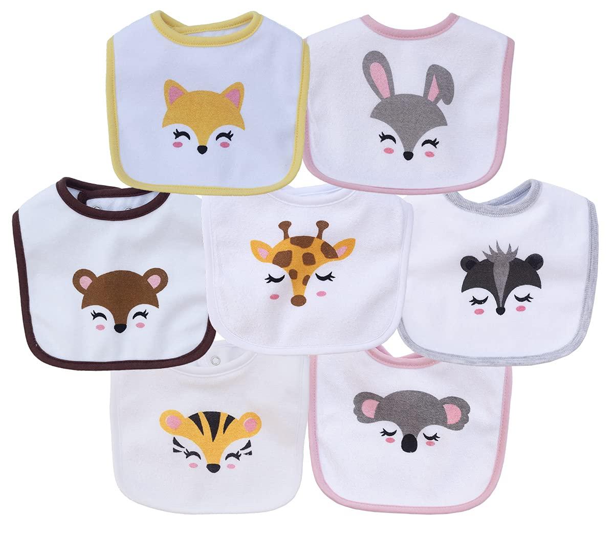 7 Pack Terry Waterproof Baby Bibs with Snaps for Girl Unisex, Drool,Eating and Teething Bibs