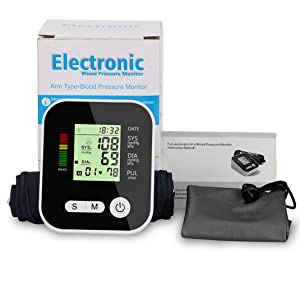 Upper Arm Type Automatic Electronic Blood Pressure Monitor Household Intelligent Real Voice Electronic Measuring Instruments Accuracy to Medical Grade Meter Home Portable Rechargeable Sphygmomanomete