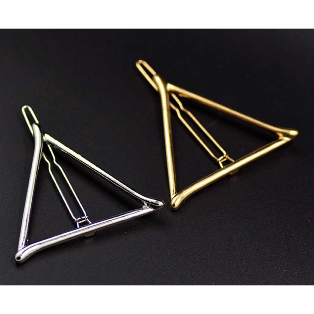 AENMIL Simple geometric Gold Triangle Hairpin Hair Clip Fashion Female Alloy Headdress Accessories - Gold Fashion Class