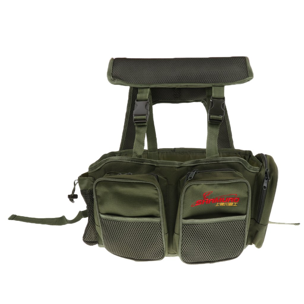 Sharplace Fishing Seat Box with Harness Rucksack Converter Seat Box Backpack Army Green