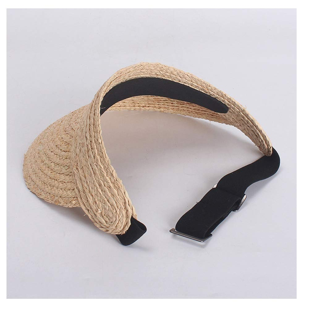 MUMUWU Sun Hat Female Straw Hat Summer Empty Top Cap Fashion Beach Holiday Sun Hat Visor (Color : Beige, Size : 57-60CM)