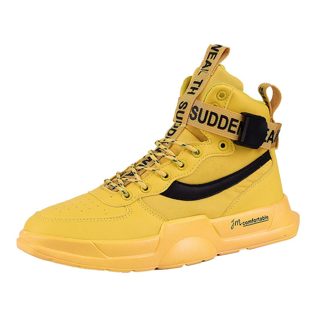 High-Top Sneakers for Men Casual Retro Lace Up Outdoor Running Canvas Shoes (US:8, Yellow) by Suoxo Men Shoes