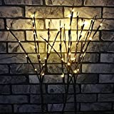 Agyvvt 3 Pcs Warm White 20 LED Lighted Twig Branches Battery Operated Artificial Tree Lights Willow Branch Lamp for Home Decor Holiday Party Decoration