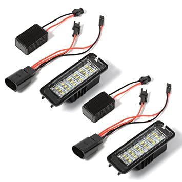 XCSOURCE 2 pzas Luz 18 LED 3528 SMD Placa Licencia con Decodificador para VW Golf 4/5/6, Beetle, Passat, Polo, Seat Altea/Leon MA537: Amazon.es: Electrónica