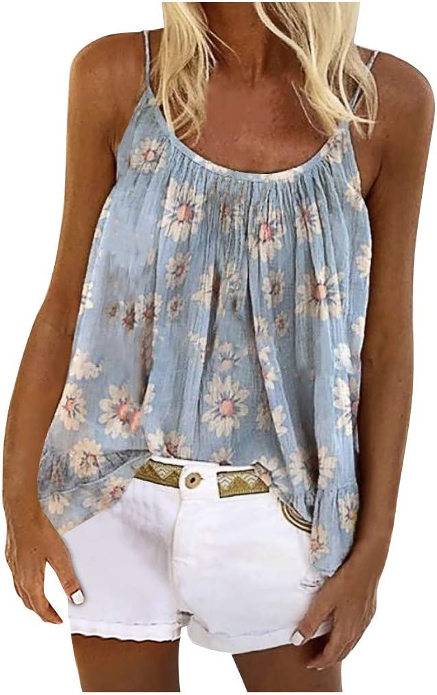 KANGMOON Womens Summer Loose Small Daisies Print Funny Sunflower V Neck Cami Tank Tops Vest Blouse