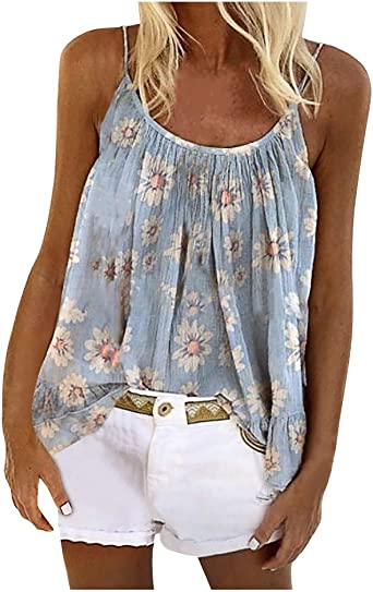 Fastbot womens Vest Flowery Tank Tops Sleeveless Tunic V Neck Casual Loose Summer Ruffle Vintage Cami Blouse Shirt