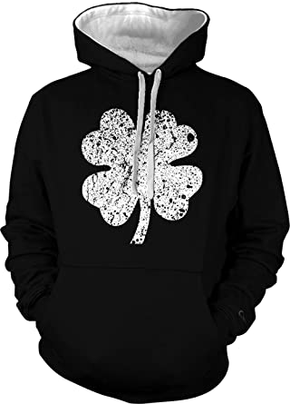 bbb05ead Four Leaf Clover - St Patrick's Day Unisex Two Tone Hoodie Sweatshirt  (Black/White