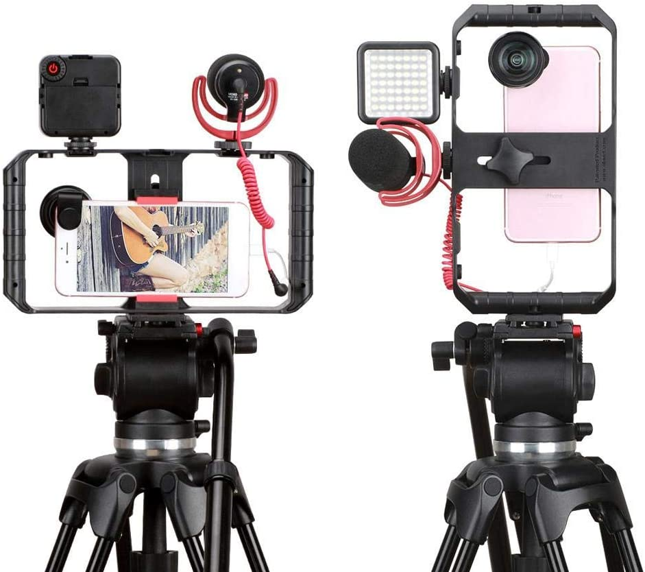 Tosuny Phone Stabilizer Frame Gimbal Stabilizer for Smartphone Ulanzi Video Rig 3 Hot Shoe Mounts Filmmaking Case Stabilizer Frame Stand for Vlog Live Video Record