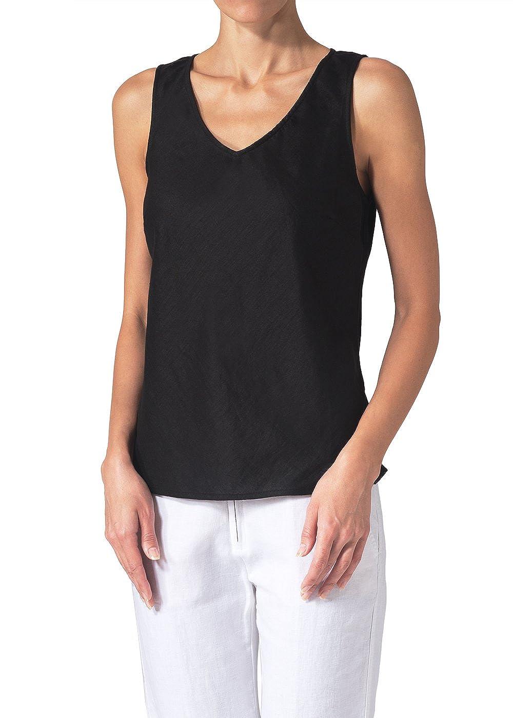 5034fd280f Vivid Linen V-Neck Sleeveless Bias Cut Tank at Amazon Women s Clothing store   Tank Top And Cami Shirts
