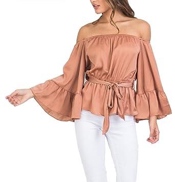 a8d62d7e2da Relipop Women's Off Shoulder Tops Long Sleeve Shirt Strapless Casual Blouses