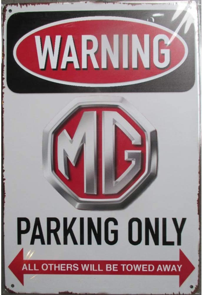 Schild Warning MG Parking Only Auto Englisch 30 x 20 cm Blechschild Metal Deco Rock Roll hotrodspirit