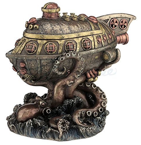 Steampunk Submarine Vs. Octopus Trinket Box Statue 3