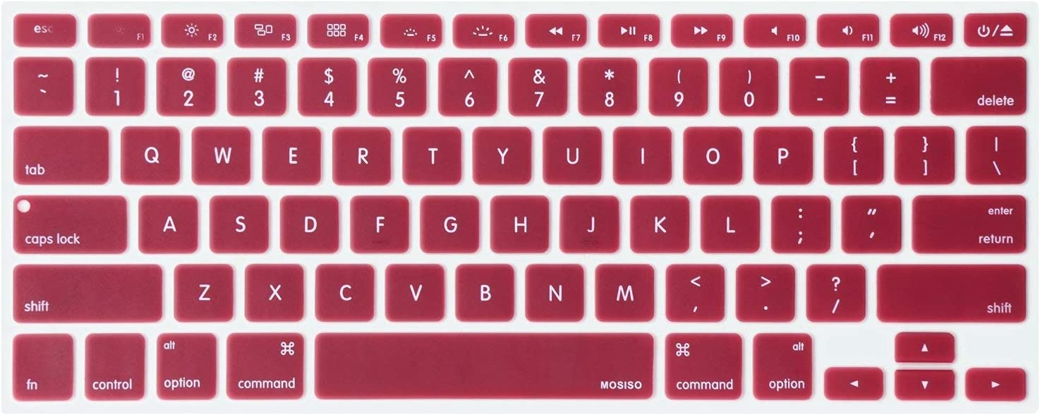 MOSISO Silicone Keyboard Cover Compatible with MacBook Pro 13/15 Inch (with/Without Retina Display, 2015 or Older Version),Older MacBook Air 13 Inch (A1466 / A1369, Release 2010-2017), Wine Red