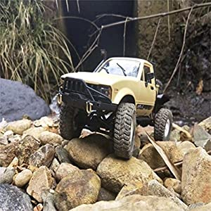 Pulison(TM) 1:16 WPL C14 Scale 2.4G 2CH 4WD Mini Off-road RC Semi-truck RTR Kids Climb Truck (yellow)